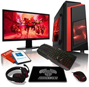 Pc Gaming Rapide et Puissant Rouge avec Ecran